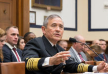 U.S. Navy Admiral Harry Harris, Commander of the U.S. Pacific Command, testifies at a Congressional House Armed Services Committee hearing on Feb. 14, 2017. President Donald Trump has announced the intention to nominate Harris, a noted hard-liner when it comes to countering Chinese military aggression, to be the next U.S. ambassador to Australia. (Paul Huang/The Epoch Times)