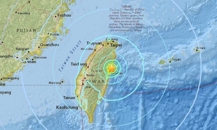 The 6.1-magnitude earthquake that hit Taiwan Feb. 4. (USGS)