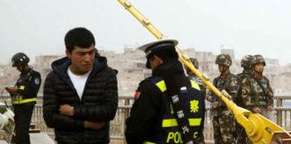 A police checkpoint in Kashgar, Xinjiang. (Image: BBC )