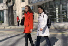 Ying Lin (L), a former Air China manager, walked out of the federal court in Brooklyn, New York City together with her attorney on April 17, 2019. (Cai Rong/Epoch Time