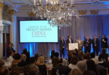 """The Committee on the Present Danger: China hosted a conference called """"The CCP's Unrestricted Economic Warfare Against America Conference"""" and condemned China's human rights abuses in New York City on April 25, 2019. (Shenghua Sung/NTD)"""