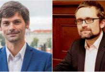 (From left) Czech Senator Marek Hilser and Member of Parliament Mikulas Peksa work together to prepare an amendment to the organ transplant law. (Screenshot from ceske-volby.cz/pirati.cz)