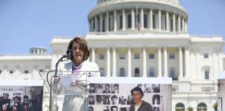 House Speaker Rep. Nancy Pelosi (D-Calif.) speaks at a rally to commemorate the 30th anniversary of the Tiananmen Square massacre, on the West Lawn the Capitol on June 4, 2019. (Samira Bouaou/The Epoch Times)