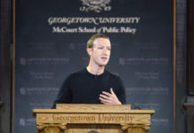Facebook CEO Mark Zuckerberg leads a conversation on free expression at Georgetown University in Washington, DC on October 17, 2019. (Riccardo Savi/Getty Images for Facebook)