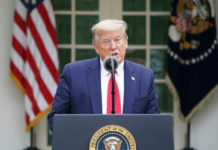 President Donald Trump speaks during the daily briefing on the CCP virus, which causes COVID-19, in the Rose Garden of the White House on April 14, 2020. (Mandel Ngan/AFP via Getty Images)